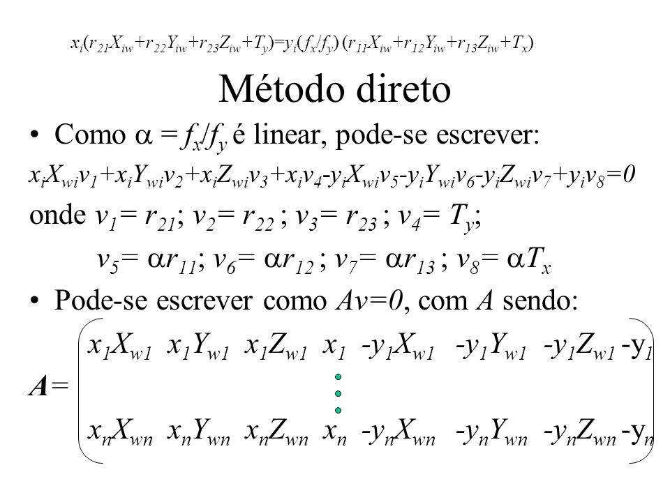 Método direto Como = f x /f y é linear, pode-se escrever: x i X wi v 1 +x i Y wi v 2 +x i Z wi v 3 +x i v 4 -y i X wi v 5 -y i Y wi v 6 -y i Z wi v 7