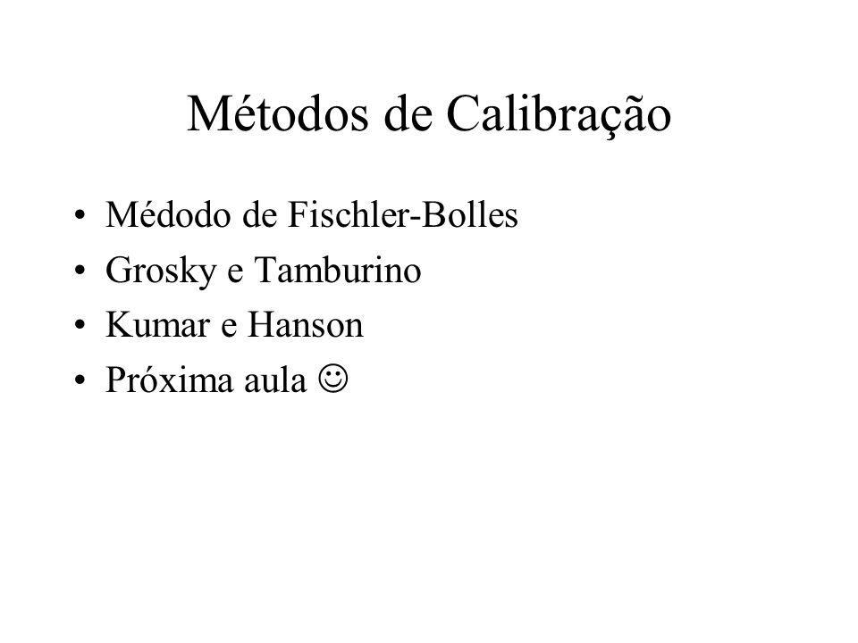 Métodos de Calibração Médodo de Fischler-Bolles Grosky e Tamburino Kumar e Hanson Próxima aula