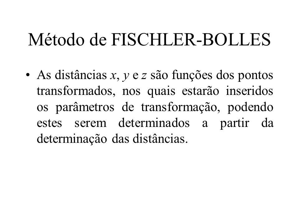 Método de FISCHLER-BOLLES As distâncias x, y e z são funções dos pontos transformados, nos quais estarão inseridos os parâmetros de transformação, pod