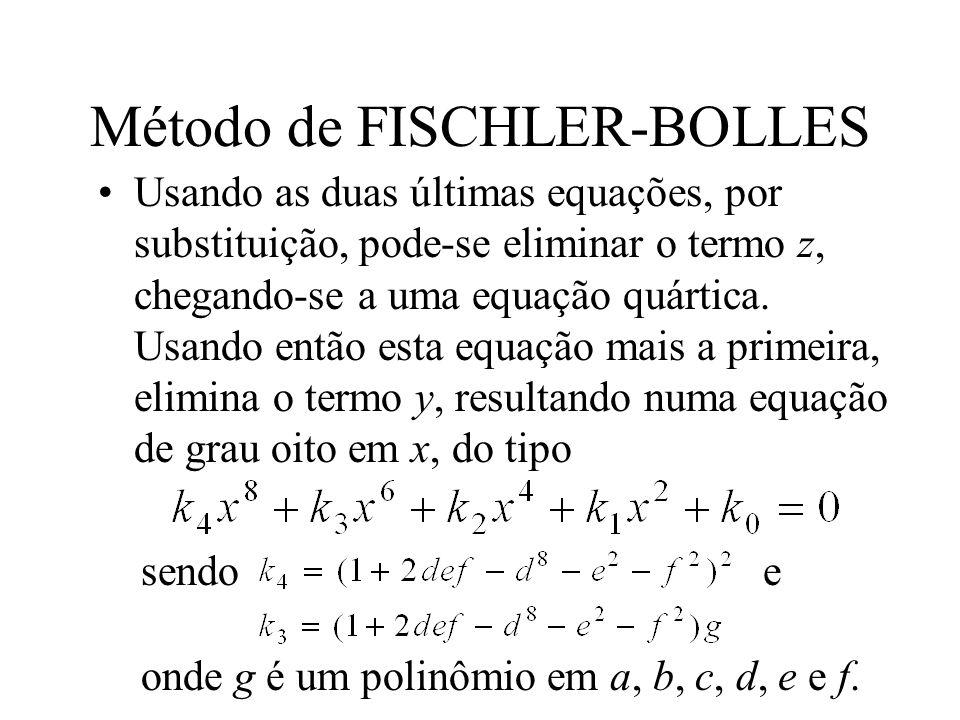 Método de FISCHLER-BOLLES Usando as duas últimas equações, por substituição, pode-se eliminar o termo z, chegando-se a uma equação quártica. Usando en