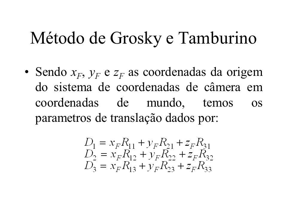Método de Grosky e Tamburino Sendo x F, y F e z F as coordenadas da origem do sistema de coordenadas de câmera em coordenadas de mundo, temos os param