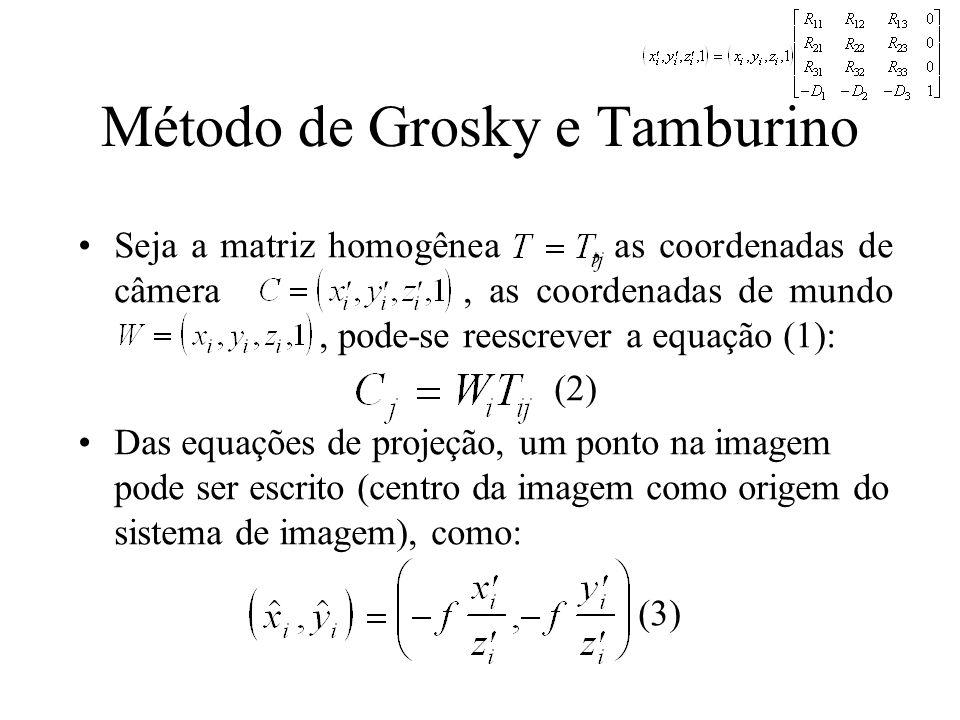 Método de Grosky e Tamburino Seja a matriz homogênea, as coordenadas de câmera, as coordenadas de mundo, pode-se reescrever a equação (1): (2) Das equ
