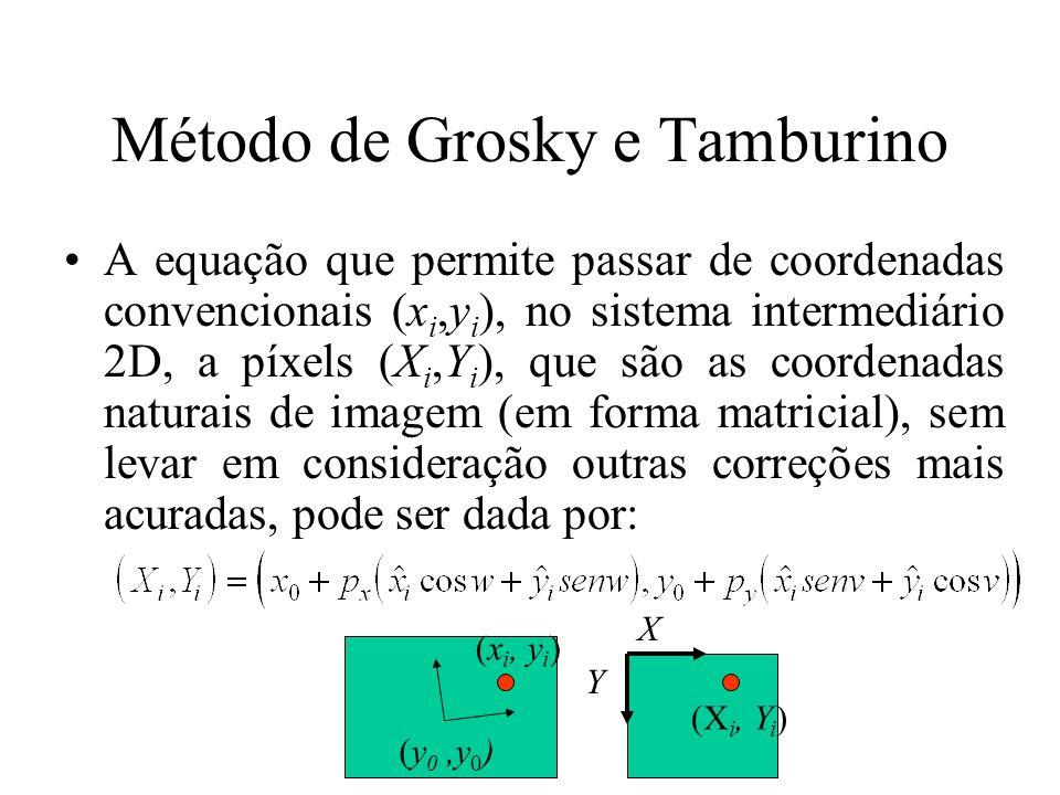 Método de Grosky e Tamburino A equação que permite passar de coordenadas convencionais (x i,y i ), no sistema intermediário 2D, a píxels (X i,Y i ), q