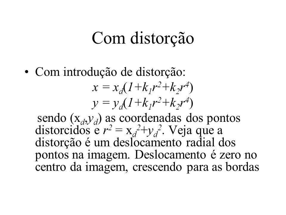 Com distorção Com introdução de distorção: x = x d (1+k 1 r 2 +k 2 r 4 ) y = y d (1+k 1 r 2 +k 2 r 4 ) sendo (x d,y d ) as coordenadas dos pontos dist