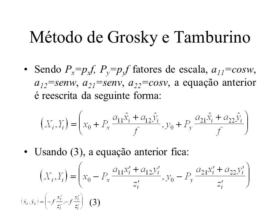 Método de Grosky e Tamburino Sendo P x =p x f, P y =p y f fatores de escala, a 11 =cosw, a 12 =senw, a 21 =senv, a 22 =cosv, a equação anterior é rees