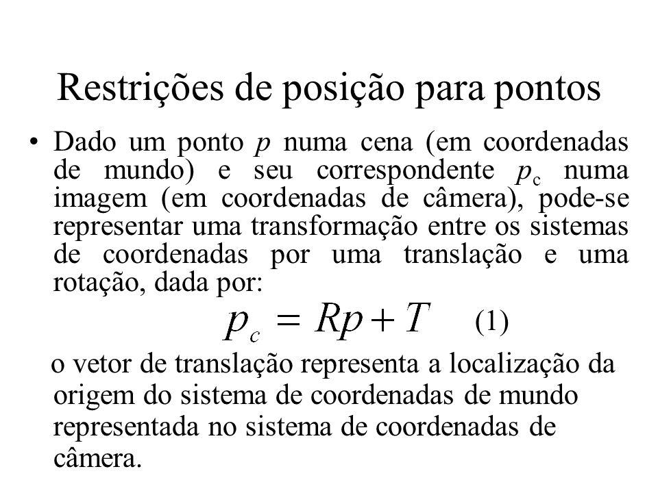 Restrições de posição para pontos Dado um ponto p numa cena (em coordenadas de mundo) e seu correspondente p c numa imagem (em coordenadas de câmera),