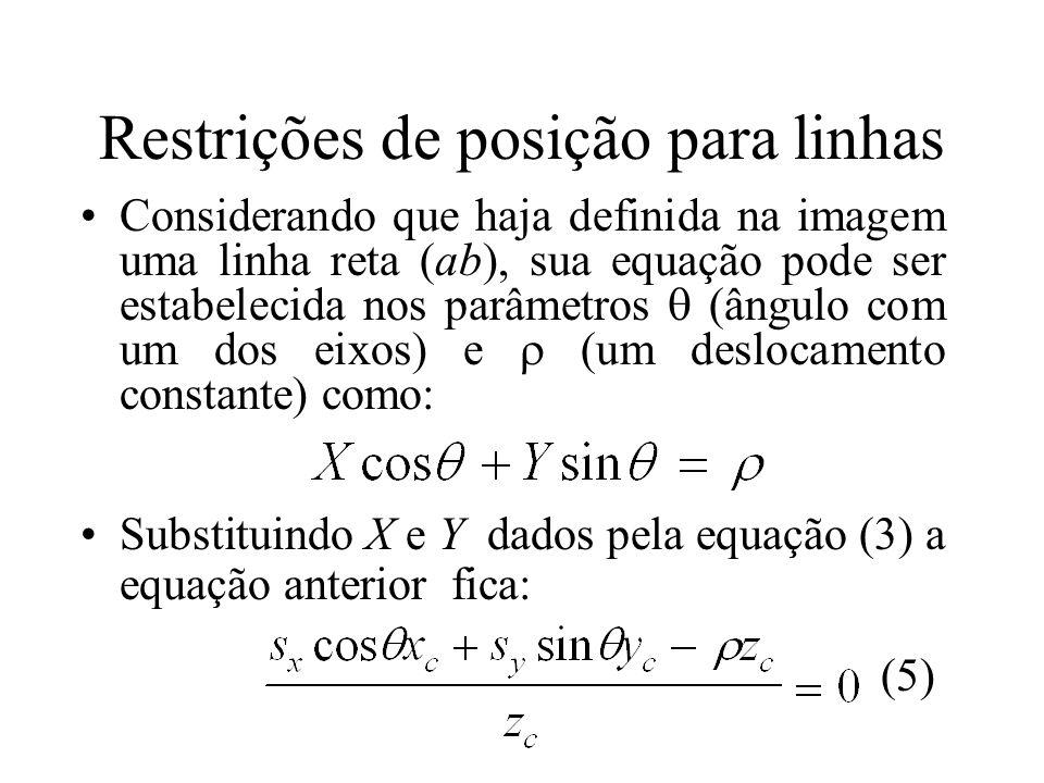 Restrições de posição para linhas Considerando que haja definida na imagem uma linha reta (ab), sua equação pode ser estabelecida nos parâmetros (ângu