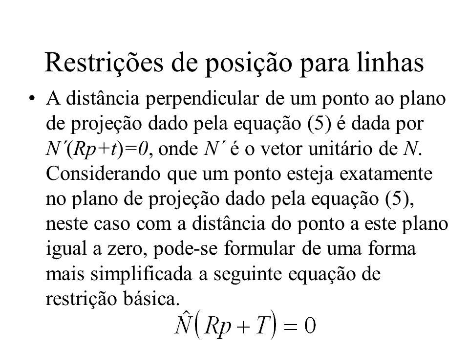 Restrições de posição para linhas A distância perpendicular de um ponto ao plano de projeção dado pela equação (5) é dada por N´(Rp+t)=0, onde N´ é o