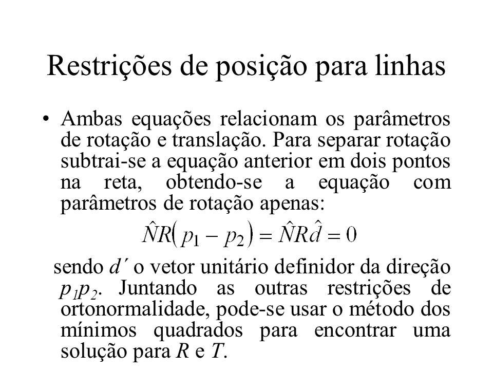Restrições de posição para linhas Ambas equações relacionam os parâmetros de rotação e translação. Para separar rotação subtrai-se a equação anterior