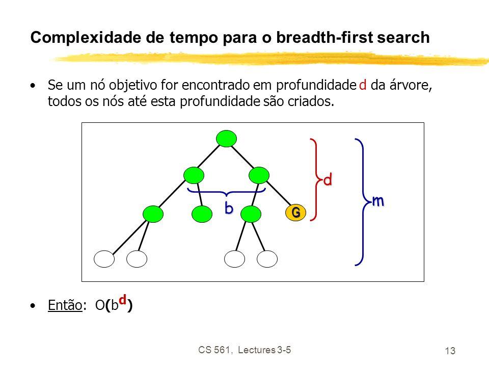 CS 561, Lectures 3-5 13 Complexidade de tempo para o breadth-first search Se um nó objetivo for encontrado em profundidade d da árvore, todos os nós até esta profundidade são criados.
