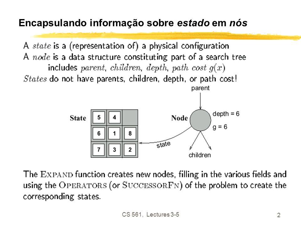 CS 561, Lectures 3-5 2 Encapsulando informação sobre estado em nós
