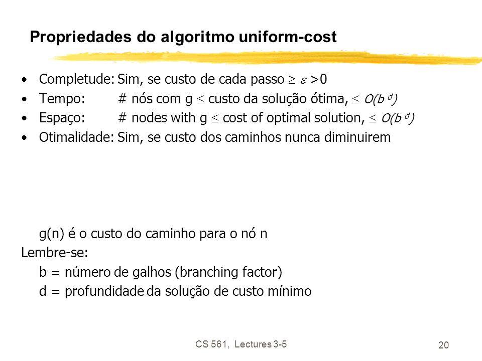 CS 561, Lectures 3-5 20 Propriedades do algoritmo uniform-cost Completude:Sim, se custo de cada passo >0 Tempo:# nós com g custo da solução ótima, O(b d ) Espaço:# nodes with g cost of optimal solution, O(b d ) Otimalidade:Sim, se custo dos caminhos nunca diminuirem g(n) é o custo do caminho para o nó n Lembre-se: b = número de galhos (branching factor) d = profundidade da solução de custo mínimo