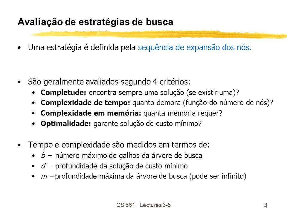 CS 561, Lectures 3-5 4 Avaliação de estratégias de busca Uma estratégia é definida pela sequência de expansão dos nós.