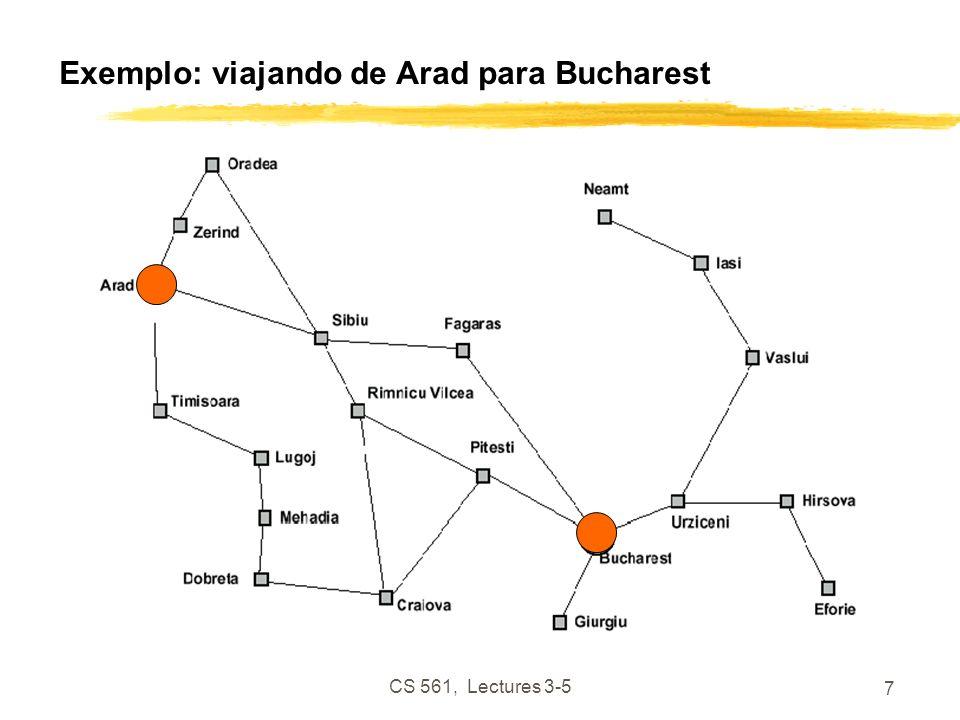 CS 561, Lectures 3-5 7 Exemplo: viajando de Arad para Bucharest