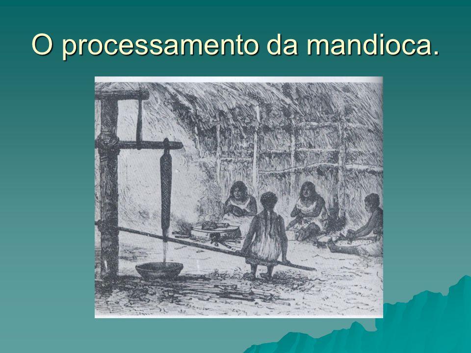 O processamento da mandioca.