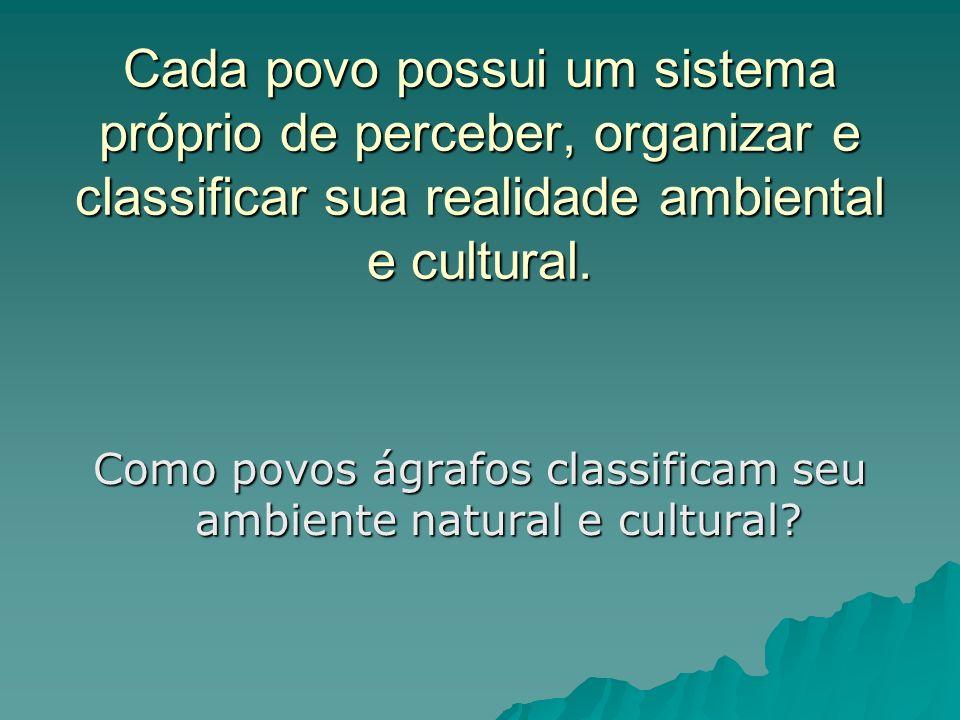 Cada povo possui um sistema próprio de perceber, organizar e classificar sua realidade ambiental e cultural. Como povos ágrafos classificam seu ambien