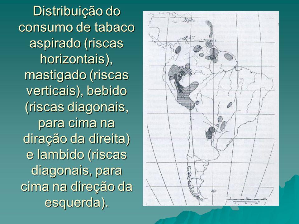 Distribuição do consumo de tabaco aspirado (riscas horizontais), mastigado (riscas verticais), bebido (riscas diagonais, para cima na diração da direi
