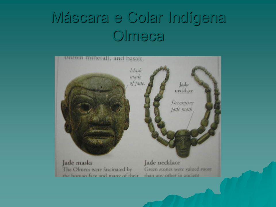 Máscara e Colar Indígena Olmeca