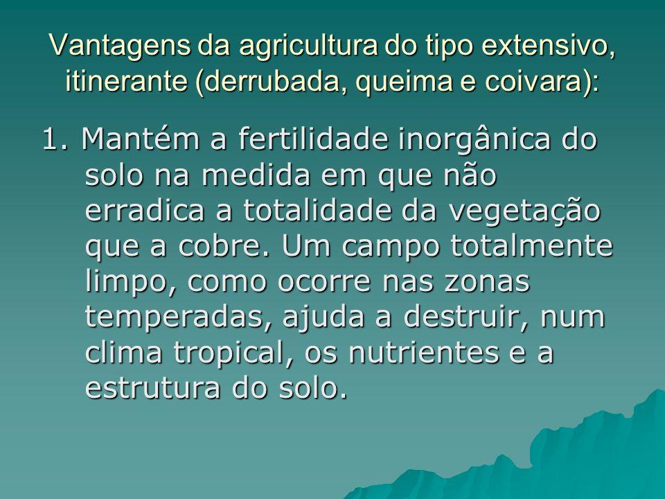Vantagens da agricultura do tipo extensivo, itinerante (derrubada, queima e coivara): 1. Mantém a fertilidade inorgânica do solo na medida em que não