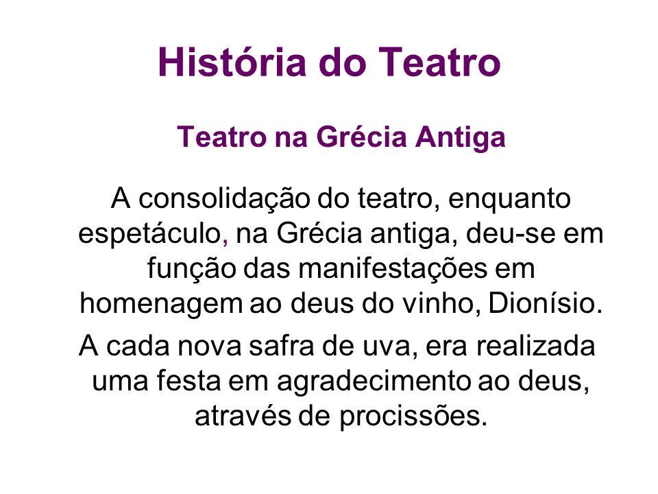 História do Teatro Teatro na Grécia Antiga A consolidação do teatro, enquanto espetáculo, na Grécia antiga, deu-se em função das manifestações em home