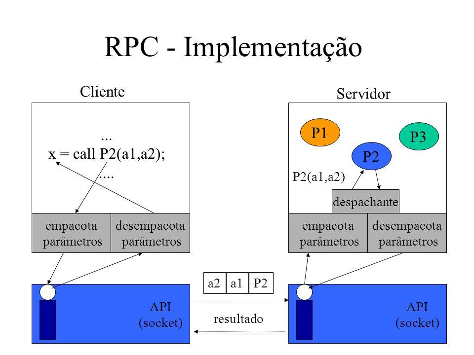 RPC - Implementação Cliente Servidor... x = call P2(a1,a2);.... empacota parâmetros desempacota parâmetros empacota parâmetros desempacota parâmetros