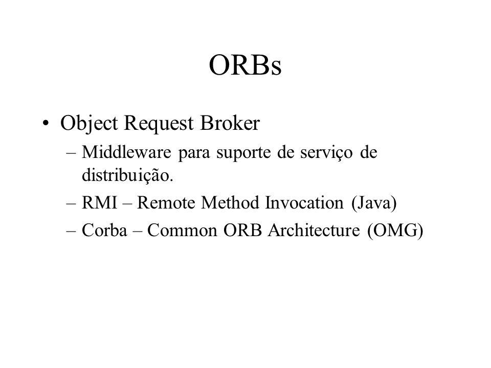 ORBs Object Request Broker –Middleware para suporte de serviço de distribuição. –RMI – Remote Method Invocation (Java) –Corba – Common ORB Architectur