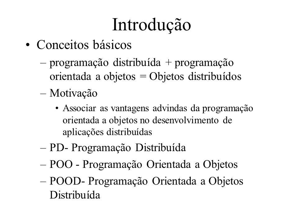 Introdução Conceitos básicos –programação distribuída + programação orientada a objetos = Objetos distribuídos –Motivação Associar as vantagens advind