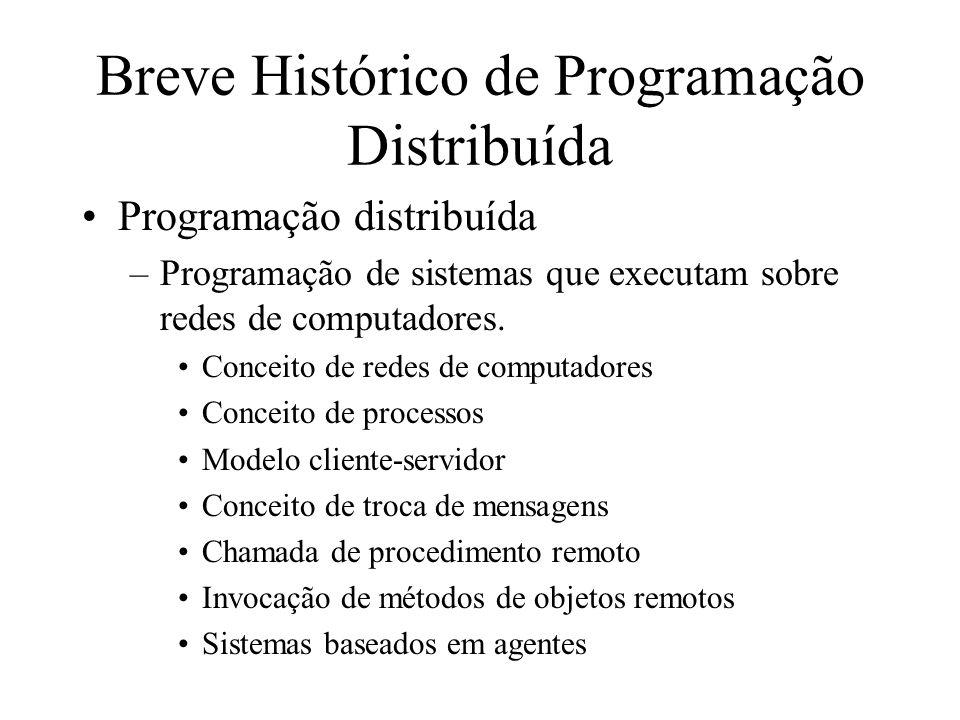 Breve Histórico de Programação Distribuída Programação distribuída –Programação de sistemas que executam sobre redes de computadores. Conceito de rede