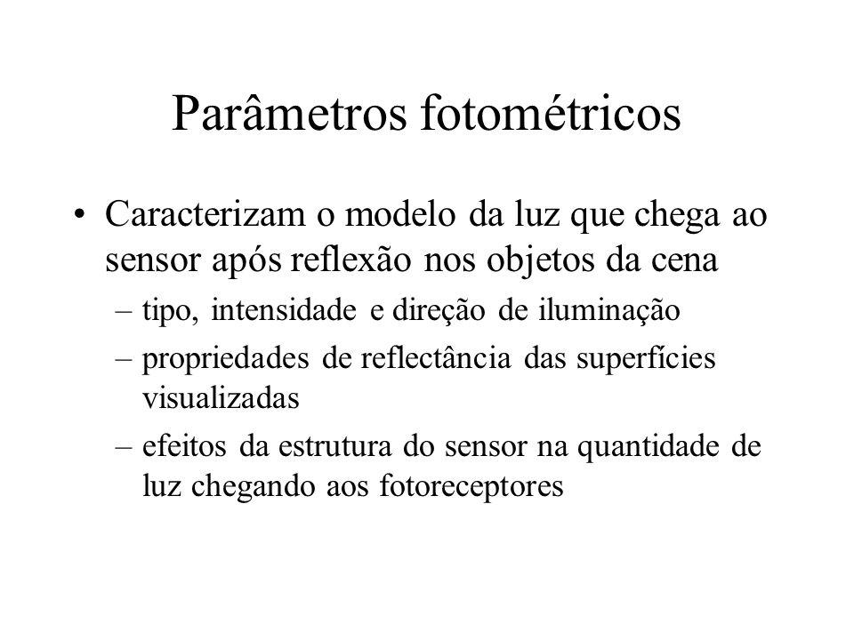 Parâmetros fotométricos Caracterizam o modelo da luz que chega ao sensor após reflexão nos objetos da cena –tipo, intensidade e direção de iluminação –propriedades de reflectância das superfícies visualizadas –efeitos da estrutura do sensor na quantidade de luz chegando aos fotoreceptores