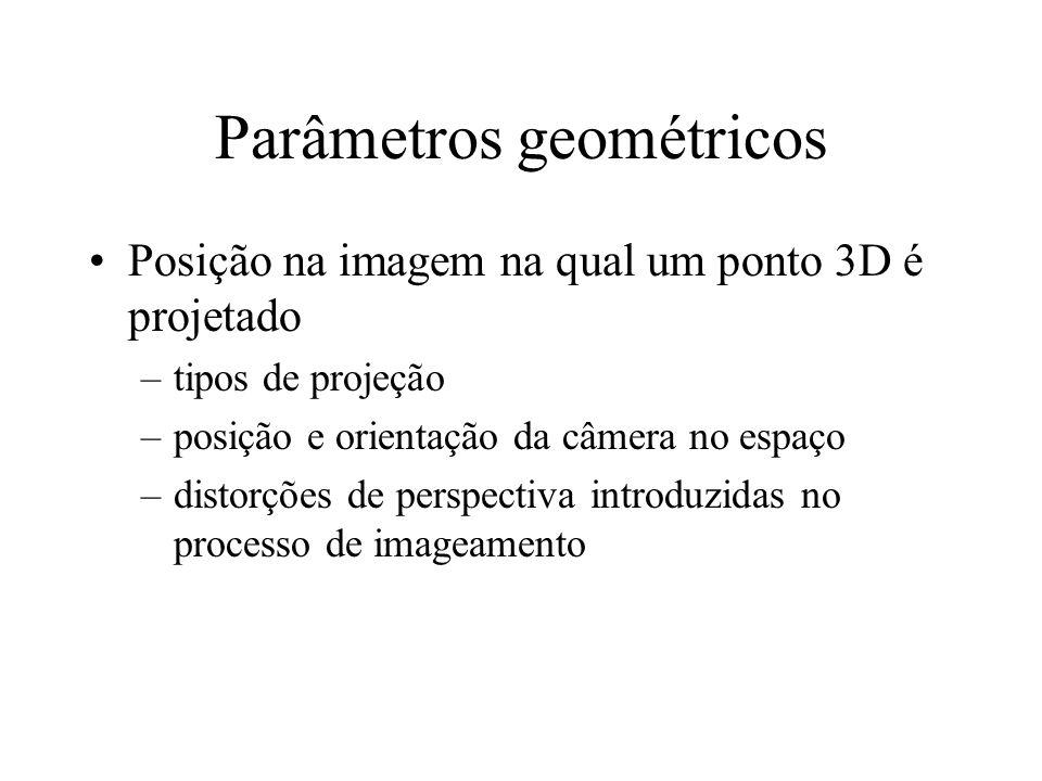 Parâmetros geométricos Posição na imagem na qual um ponto 3D é projetado –tipos de projeção –posição e orientação da câmera no espaço –distorções de perspectiva introduzidas no processo de imageamento