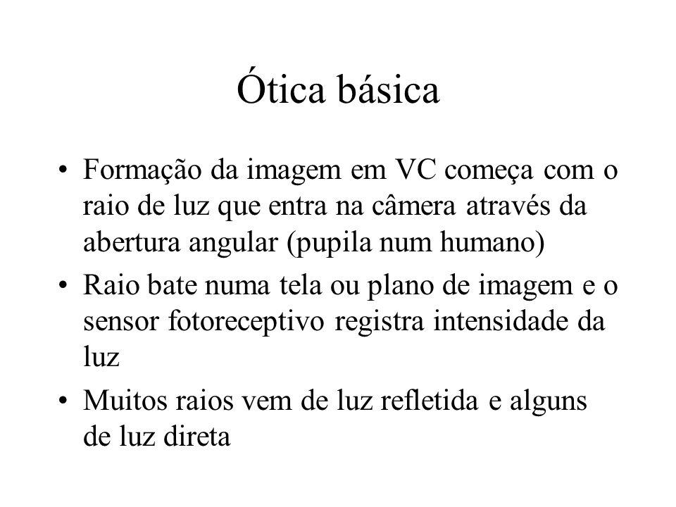 Ótica básica Formação da imagem em VC começa com o raio de luz que entra na câmera através da abertura angular (pupila num humano) Raio bate numa tela ou plano de imagem e o sensor fotoreceptivo registra intensidade da luz Muitos raios vem de luz refletida e alguns de luz direta