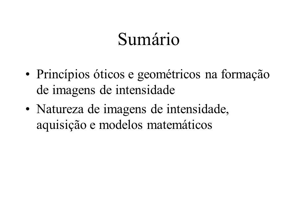 Sumário Princípios óticos e geométricos na formação de imagens de intensidade Natureza de imagens de intensidade, aquisição e modelos matemáticos
