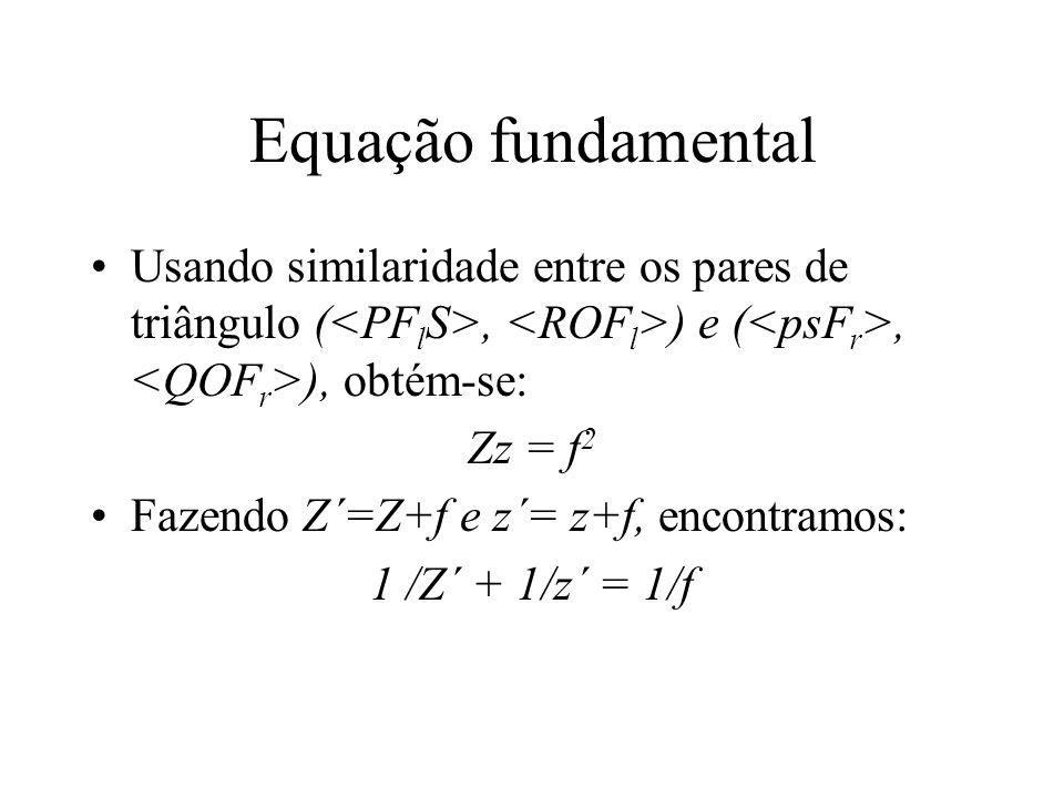 Equação fundamental Usando similaridade entre os pares de triângulo (, ) e (, ), obtém-se: Zz = f 2 Fazendo Z´=Z+f e z´= z+f, encontramos: 1 /Z´ + 1/z´ = 1/f