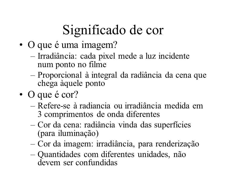 Significado de cor O que é uma imagem? –Irradiância: cada pixel mede a luz incidente num ponto no filme –Proporcional à integral da radiância da cena