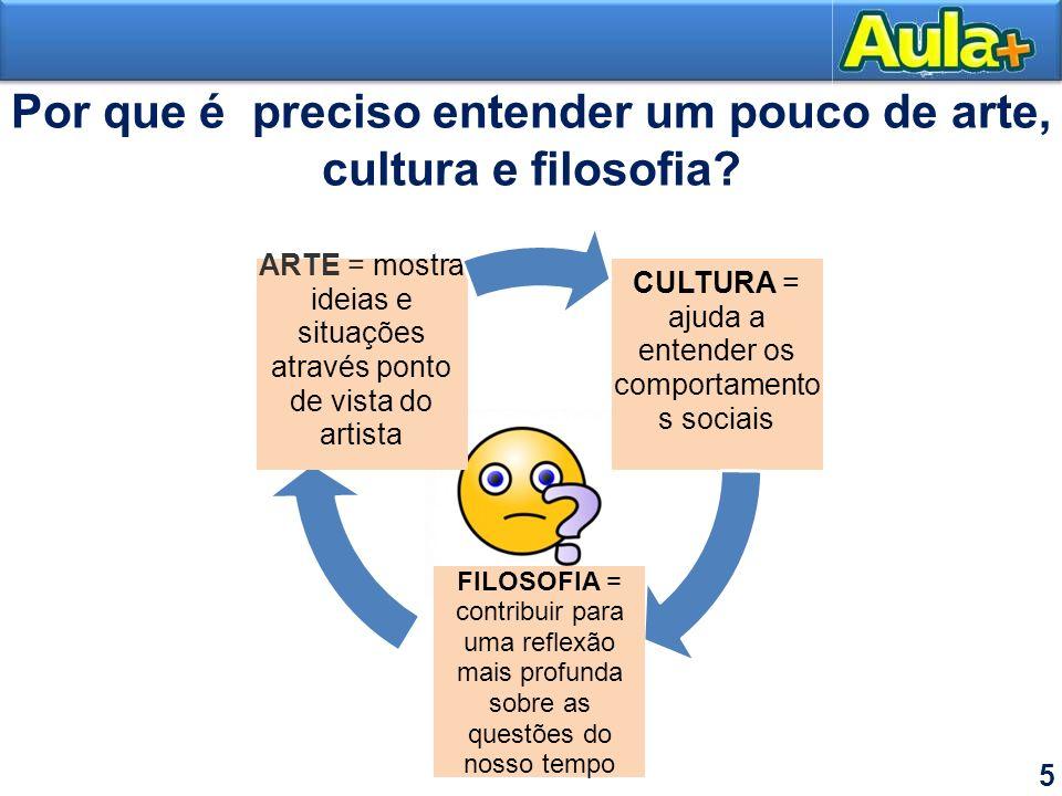 Por que é preciso entender um pouco de arte, cultura e filosofia? 5 CULTURA = ajuda a entender os comportamento s sociais FILOSOFIA = contribuir para