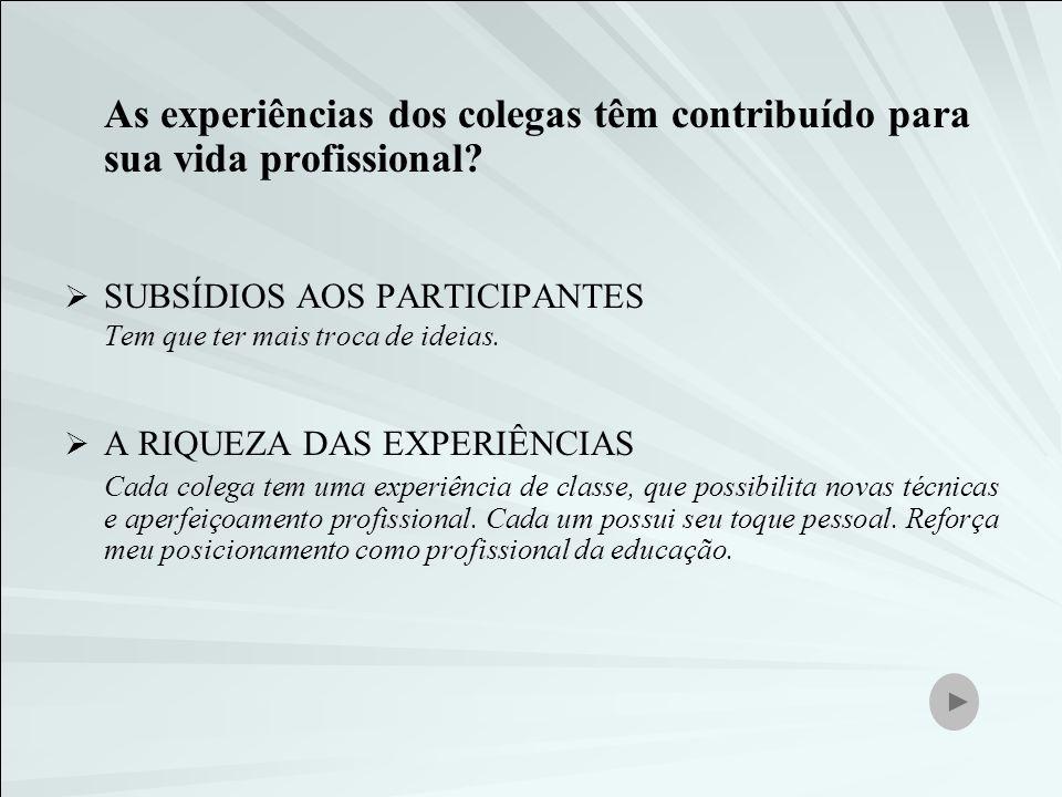 As experiências dos colegas têm contribuído para sua vida profissional? SUBSÍDIOS AOS PARTICIPANTES Tem que ter mais troca de ideias. A RIQUEZA DAS EX