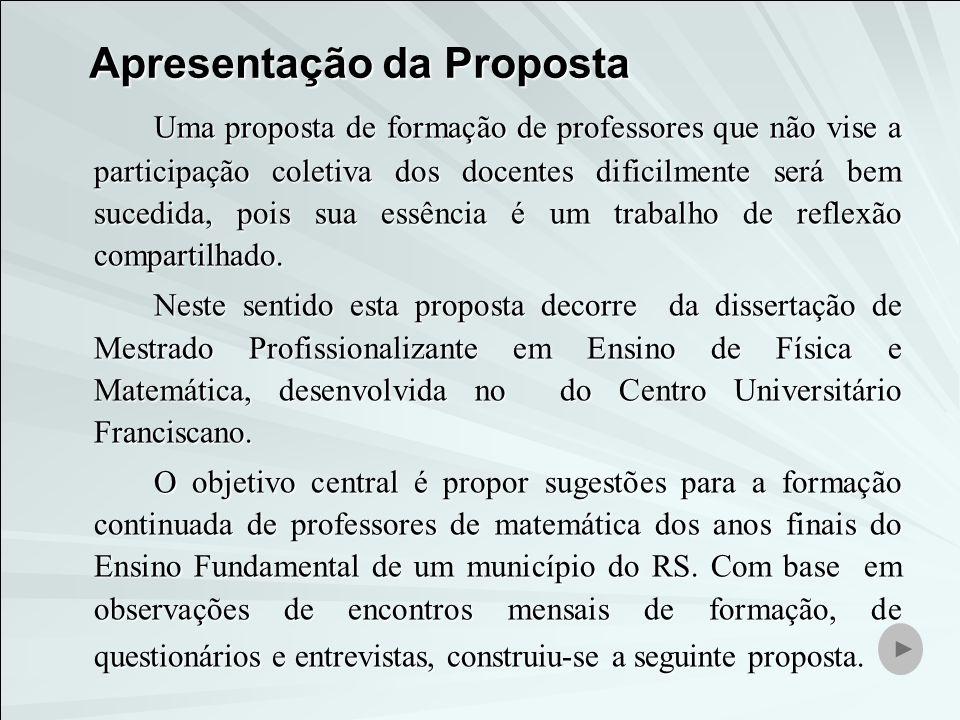 Apresentação da Proposta Uma proposta de formação de professores que não vise a participação coletiva dos docentes dificilmente será bem sucedida, poi