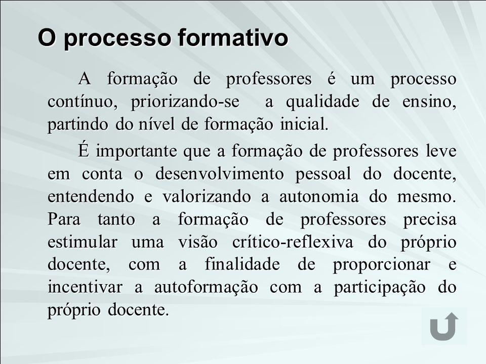 O processo formativo A formação de professores é um processo contínuo, priorizando-se a qualidade de ensino, partindo do nível de formação inicial. É