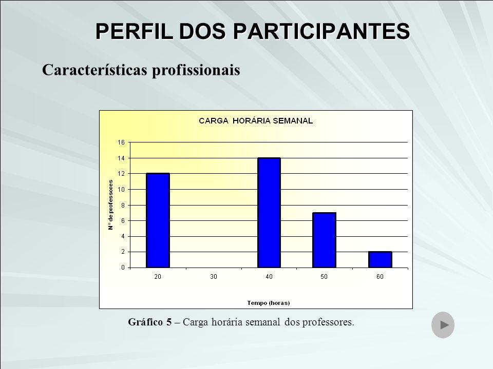 Características profissionais Gráfico 5 – Carga horária semanal dos professores. PERFIL DOS PARTICIPANTES