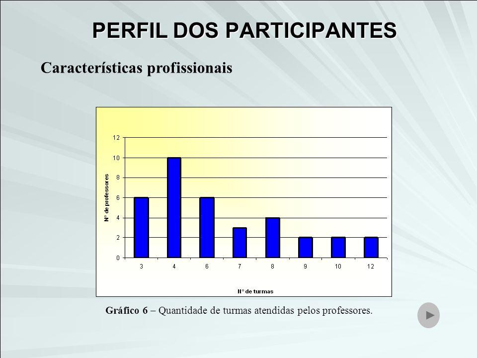 Características profissionais Gráfico 6 – Quantidade de turmas atendidas pelos professores. PERFIL DOS PARTICIPANTES