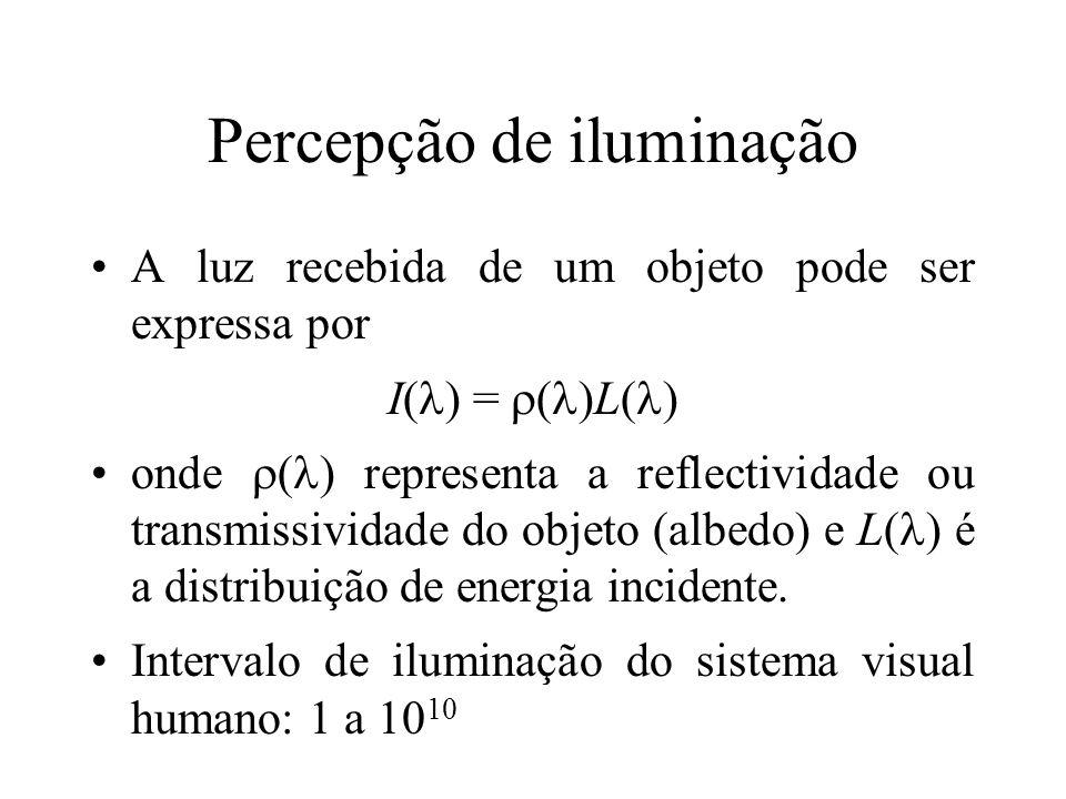 Percepção de iluminação A luz recebida de um objeto pode ser expressa por I( ) = ( )L( ) onde ( ) representa a reflectividade ou transmissividade do objeto (albedo) e L( ) é a distribuição de energia incidente.