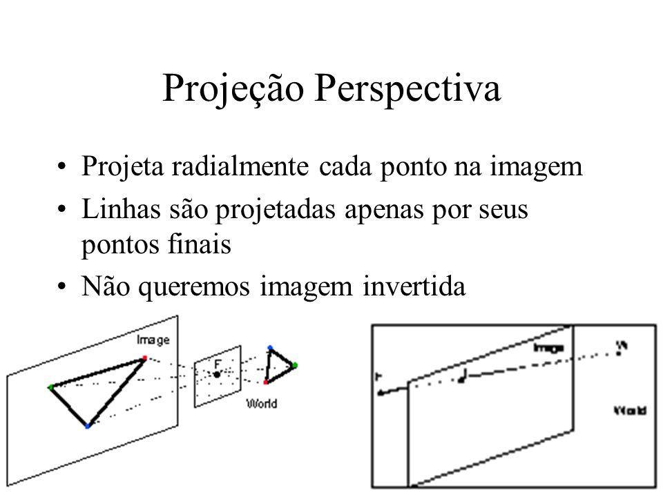 Projeção Perspectiva Projeta radialmente cada ponto na imagem Linhas são projetadas apenas por seus pontos finais Não queremos imagem invertida