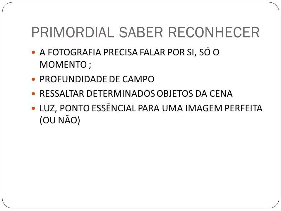 PRIMORDIAL SABER RECONHECER A FOTOGRAFIA PRECISA FALAR POR SI, SÓ O MOMENTO ; PROFUNDIDADE DE CAMPO RESSALTAR DETERMINADOS OBJETOS DA CENA LUZ, PONTO