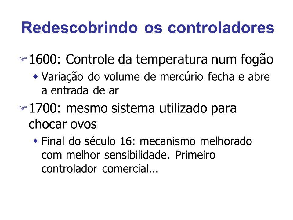 Redescobrindo os controladores F 1600: Controle da temperatura num fogão wVariação do volume de mercúrio fecha e abre a entrada de ar F 1700: mesmo sistema utilizado para chocar ovos wFinal do século 16: mecanismo melhorado com melhor sensibilidade.