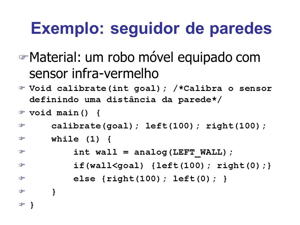 Exemplo: seguidor de paredes F Material: um robo móvel equipado com sensor infra-vermelho Void calibrate(int goal); /*Calibra o sensor definindo uma distância da parede*/ void main() { calibrate(goal); left(100); right(100); while (1) { int wall = analog(LEFT_WALL); if(wall<goal) {left(100); right(0);} else {right(100); left(0); } }