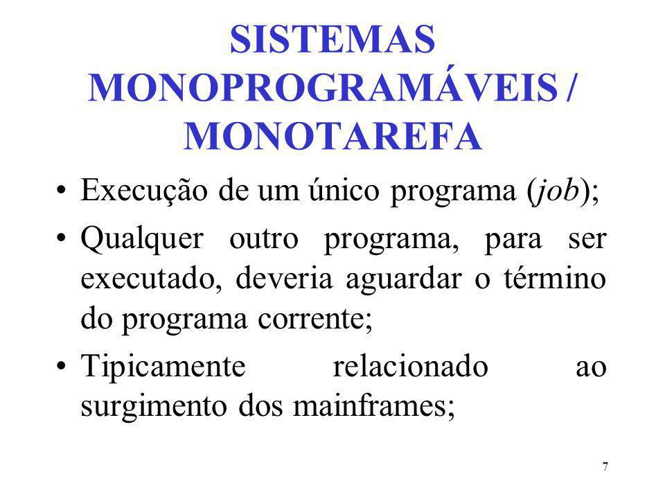 7 SISTEMAS MONOPROGRAMÁVEIS / MONOTAREFA Execução de um único programa (job); Qualquer outro programa, para ser executado, deveria aguardar o término