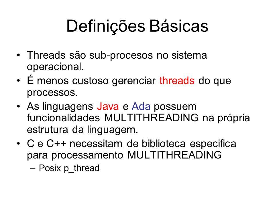 Definições Básicas Threads são sub-procesos no sistema operacional. É menos custoso gerenciar threads do que processos. As linguagens Java e Ada possu