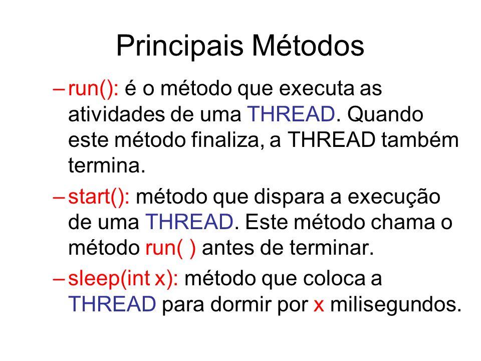 Principais Métodos –run(): é o método que executa as atividades de uma THREAD. Quando este método finaliza, a THREAD também termina. –start(): método