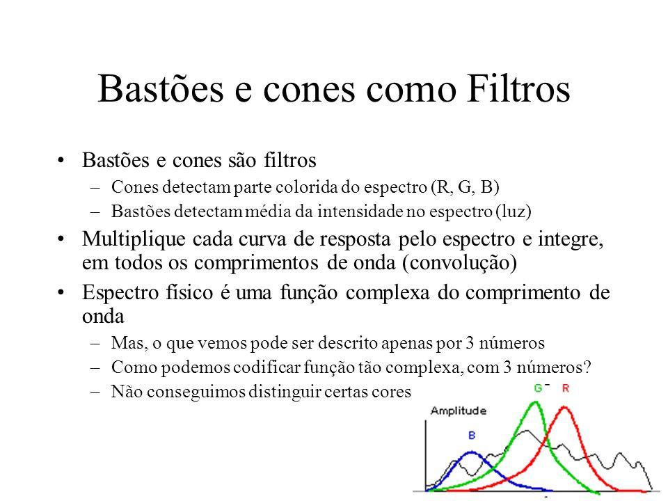 Bastões e cones como Filtros Bastões e cones são filtros –Cones detectam parte colorida do espectro (R, G, B) –Bastões detectam média da intensidade no espectro (luz) Multiplique cada curva de resposta pelo espectro e integre, em todos os comprimentos de onda (convolução) Espectro físico é uma função complexa do comprimento de onda –Mas, o que vemos pode ser descrito apenas por 3 números –Como podemos codificar função tão complexa, com 3 números.