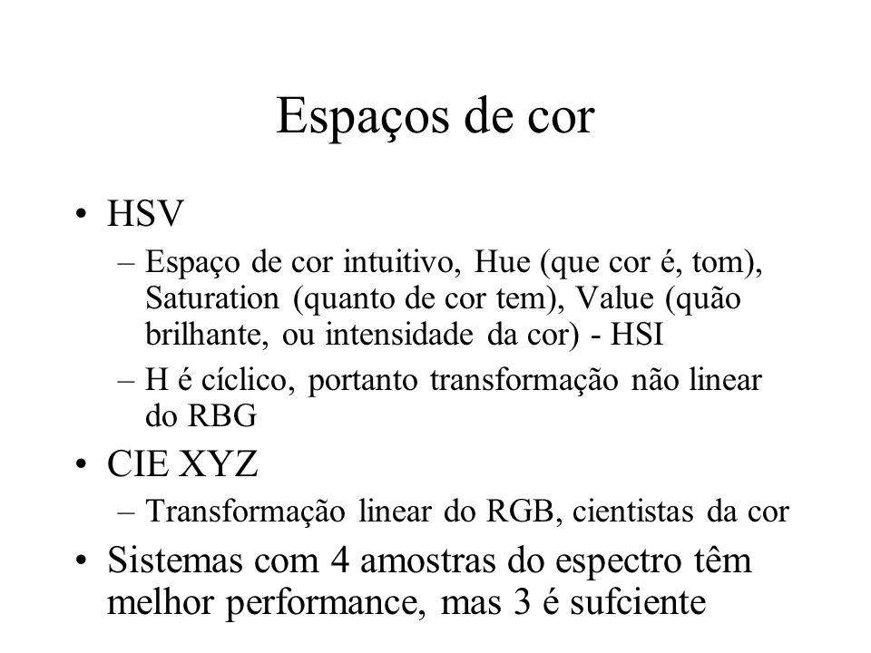Espaços de cor HSV –Espaço de cor intuitivo, Hue (que cor é, tom), Saturation (quanto de cor tem), Value (quão brilhante, ou intensidade da cor) - HSI –H é cíclico, portanto transformação não linear do RBG CIE XYZ –Transformação linear do RGB, cientistas da cor Sistemas com 4 amostras do espectro têm melhor performance, mas 3 é sufciente